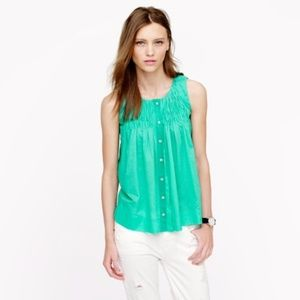 J. Crew Smocked Sleeveless Top